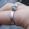 Size 7 Raw Blue Apatite Sterling Silver Crystal, Stacking Ring with Aqua Neon Bl