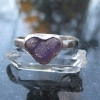 Druzy Grape Agate Sterling Silver Stacking Ring Size 7 Purple Heart Ring Gemston