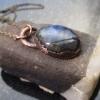 Handmade Blue Flash Labradorite Copper Necklace Copper Electroformed Gemstone Pe