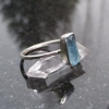 Size 6 Handmade Raw Blue Apatite Crystal Stacking Ring with Thin Dainty Hammered