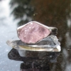 Raw Morganite Ring in Sterling Silver US Size 6 Raw Stone Jewelry Pink Crystal