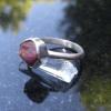Size 7 Handmade Raw Ruby Crystal Stacking Ring in Sterling Silver With Thin Hamm