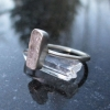 Kunzite Sterling Silver Ring in Size 6 Raw Stone Pink Crystal Stacking Minimalis