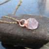 Raw Morganite Crystal Necklace with Copper Electroformed Raw Stone Pendant and P