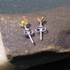Handmade Size 7 Australian Blue Opal Sterling Silver Stacking Ring with Thin Ham