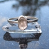 Handmade Quartz Stacking Ring in Sterling Silver Size 7 Fluorescent Crystal Ring