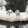 Oregon Blue Opal Stud Earrings in Sterling Silver with 4 Prong Setting Raw Stone