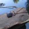 Druzy Geode Copper Electroformed Necklace with Black and Red Quartz Tabasco Geod