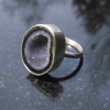 Raw Amethyst Ring Size 8 Set in Sterling Silver February Birthstone Crystal Jewe