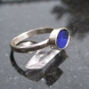 Handmade Australian Blue Opal Silver Ring Size 6 October Birthstone Jewelry for