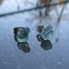 Raw Blue Apatite Crystal Studs with Hypoallergenic Surgical Steel Posts Aqua Blu