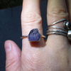 Raw Amethyst Ring Size 7 Sterling Silver Crystal Point Stacking Ring with Purple