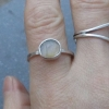 Handmade Raw Opal Silver Stacking Ring Size 7.5 Natural Ethiopian Welo Opal Gems
