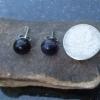 Purple Fluorite Titanium Earrings Purple Gemstone Studs with Round Stone