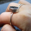 Triangle Moonstone Ring Size 7 Minimalist Sterling Silver Stacking Ring with Thi