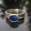 Handmade Blue Opal Stacking Ring Set Size 7 in Sterling Silver Hammered Silver R