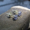 Tanzanite Earrings Raw Stone Purple Crystal Studs in 925 Sterling Silver with 4