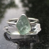 Handmade Raw Apatite Crystal Ring Size 8 in Sterling Silver Green- Blue Stone St