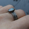 Handmade Opal Sterling Silver Stacking Ring Set Size 6 Hammered Silver October B