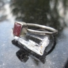 Handmade Raw Ruby Crystal Stacking Ring in Sterling Silver Size 7 July Birthston