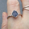 Raw Tanzanite Ring Size 9 in 925 Sterling Silver Purple Crystal Stacking Ring De