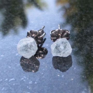 Raw Aquamarine Crystal Stud Earrings with Titanium Posts March Birthday Raw Ston