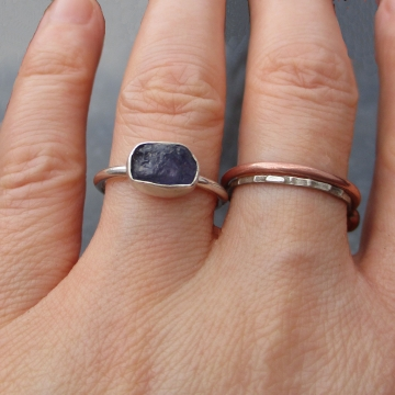 Handmade Holly Blue Agate Silver Stacking Ring Size 6.5 Purple Stone Natural Gem
