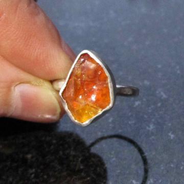 Kyanite Sterling Silver Ring Size 6 Raw Stone Crystal Blue Gemstone Stacking Rin