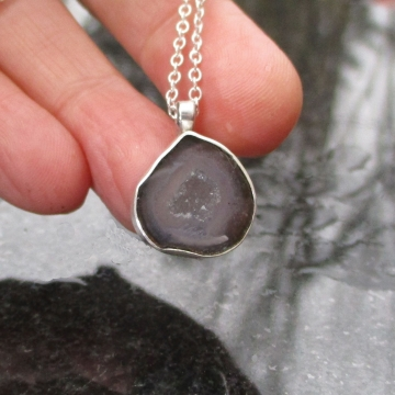 Druzy Tabasco Geode Necklace in Sterling Silver with Black and Gray Stone Smoky