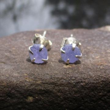 6mm Tanzanite Earrings Raw Stone Purple Crystal Studs in 925 Sterling Silver wit