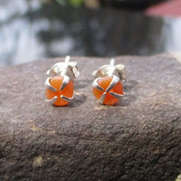 Oregon Fire Opal Stud Earrings in Sterling Silver Small 5mm Dainty Minimalist Je