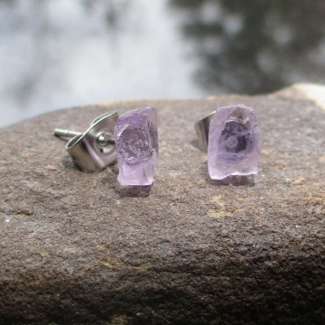 Amethyst Crystal Studs with Surgical Steel Posts Raw Stone February Birthstone E