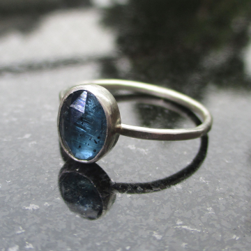 Handmade Kyanite Silver Ring Size 8 Set in  925 Sterling Silver Blue Oval Stone