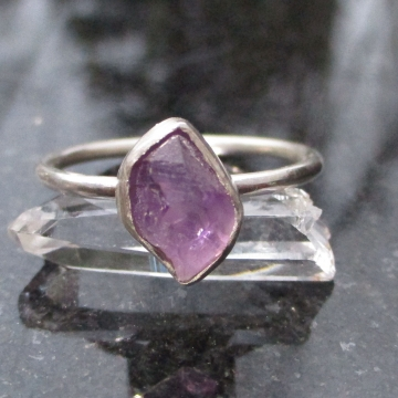 Raw Amethyst Ring Size 9 Sterling Silver Rough Stone Crystal Stacking Ring with