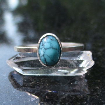 Turquoise Sterling Silver Stacking Ring in Size 7 December Birthstone Handmade G