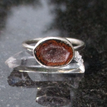 Druzy Geode Ring in Sterling Silver Size 6 with Red and Black Mini Tabasco Geode