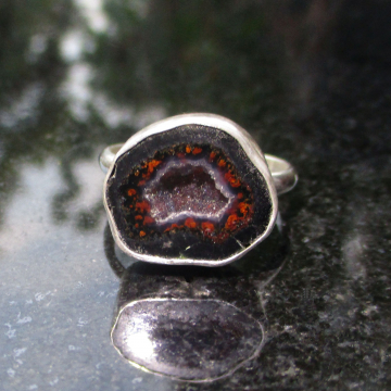 Druzy Geode Statement Ring In Sterling Silver US Size 9 Black Stone Silver Stack