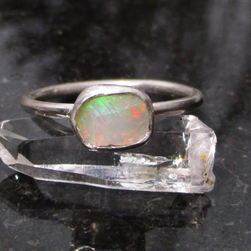 Raw Opal Sterling Silver Ring in Size 7 Welo Opal October Birthstone Gemstone Ri