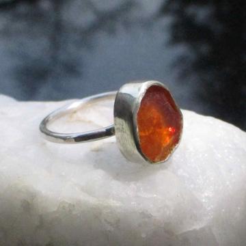 Handmade Raw Aquamarine Freeform Crystal Silver Ring Size 7.5 Natural Raw Stone