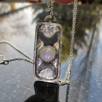 Triple Moon Sterling Silver Necklace with Rainbow Moonstone Crescent Moon Phase
