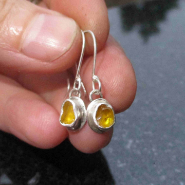 Raw Blue Apatite Sterling Silver Stud Earrings Blue Gemstone Studs Minimalist Jewelry with Small 4mm Stone