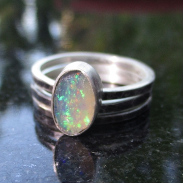 Raw Opal Sterling Silver Stacking Ring Set Size 7 Hammered Silver October Birthstone