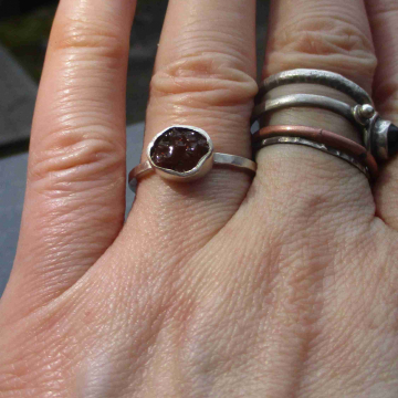 Raw Opal Ring in Sterling Silver Size 8 Blue Black Fire Opal October Birthstone Jewelry