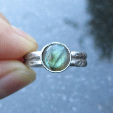 Labradorite Ring Size 6 Set in Sterling Silver with Round Labradorite Gemstone and Hand Stamped Band