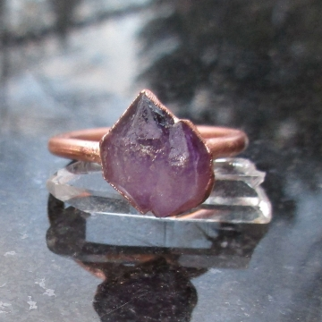 Raw Amethyst Copper Electroformed Ring Size 7 February Birthstone  Crystal Stacking Ring with Purple Stone