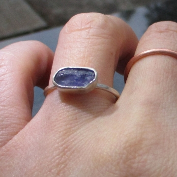 Raw Tanzanite Sterling Silver Stacking Ring Size 6 Purple Blue Crystal Minimalist Jewelry December Birthstone