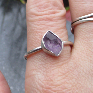 Handmade Raw Amethyst Sterling Silver Ring Size 6 Febrary Birthstone Crystal Jewelry