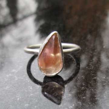 Oregon Sunstone Ring in Sterling Silver Size 7 with Schiller Raw Stone Crystal Jewlery Oregon Gift