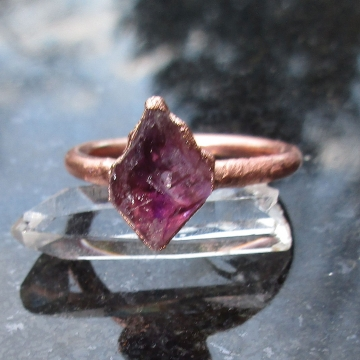 Raw Amethyst Copper Electroformed Ring Size 6 February Birthstone  Crystal Stacking Ring with Purple Stone