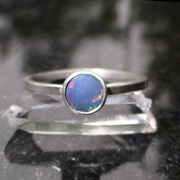 Size 7 Australian Blue Opal Sterling Silver Stacking Ring with Small 6mm Round Stone